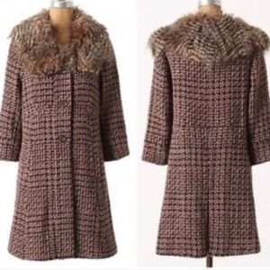 ANTHROPOLOGIE - NWOT Faux Fur Tweed Coat